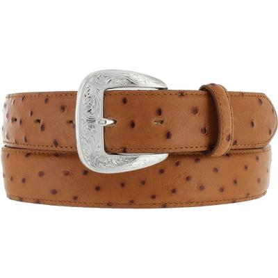 Tony Lama Mens Ostrich Peanut Print Dress Belt