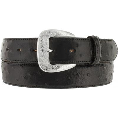 Tony Lama Mens Black Ostrich Dress Belt