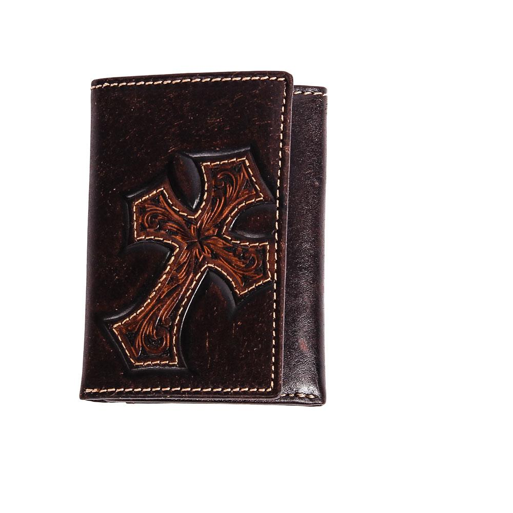 Nocona Western Mens Wallet Leather Trifold Cross Hair Inlay Brown N5414008