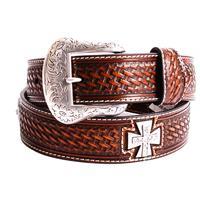 Nocona Tan Basket Weave Belt with Cross Conchos
