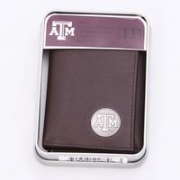TX A+M Silver Coin Tri-Fold Wallet
