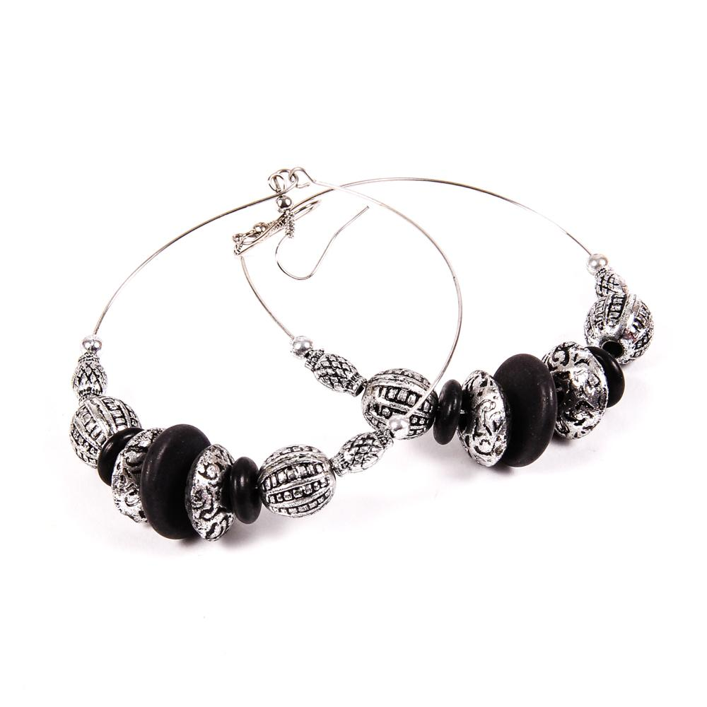black earrings for womens womens black and silver hoop earrings 1120