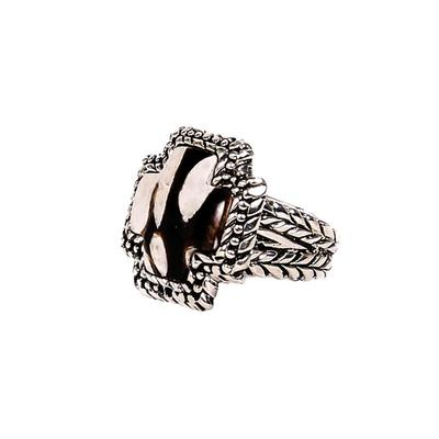 Dian Malouf's Stone Cross Ring with Braided Edge