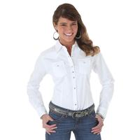 Wrangler White Womens Long Sleeve Solid Shirt