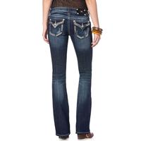 Miss Me Womens Chain & Stud Border Boot Cut Jeans