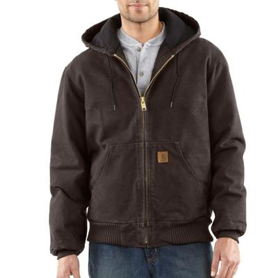 Carhartt Mens Flannel Sandstone Active Jacket Quilt Lined - Dark Brown