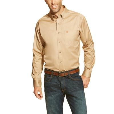 Ariat Men's Solid Twill Khaki Button Down