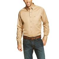 Ariat Solid Twill Khaki Mens Long Sleeve Button Western Shirt