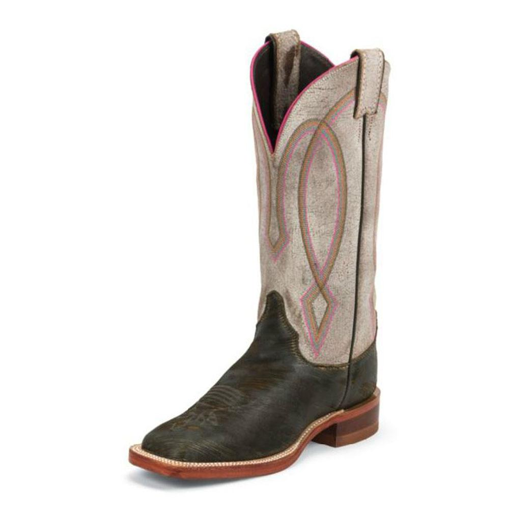 Justin Womens Brown Tiger Eye Cowhide Boots