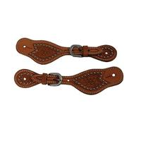 Bar H Equine Youth Basket Weave Spur Straps with Dots