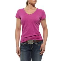 Ariat  Womens Short Sleeve Chiffon Yoke Top