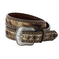 Roper Hair-On-Calf Brown Leather Strap Belt