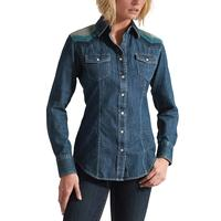 Ariat Ladies Sunset Denim Snap Embroidered Long Sleeve Shirt