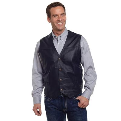 Cripple Creek Snap Front Nappa Leather Vest BLACK