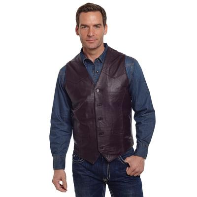 Cripple Creek Basic Button Front Leather Vest in Brown