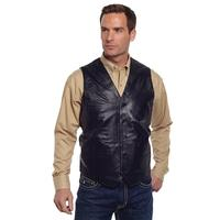 Cripple Creek Basic Button Front Leather Vest in Black