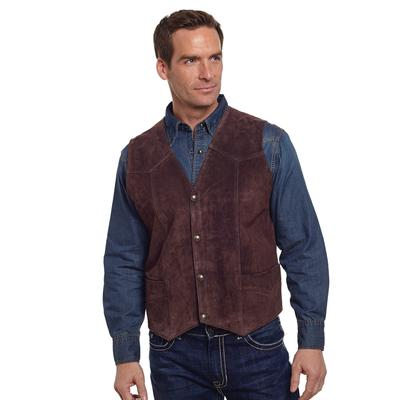 Cripple Creek Chocolate Snap Front Leather Vest