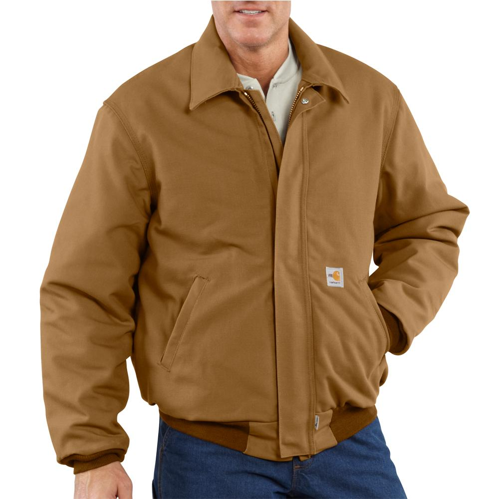 47662ffa28 Carhartt Men's Flame-Resistant Duck Quilt Lined Bomber Jacket