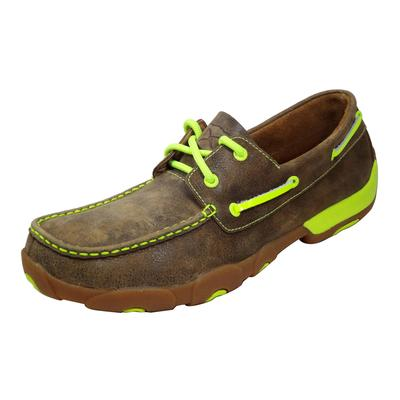 Twisted X Men's Brown and Lime Boat Shoes