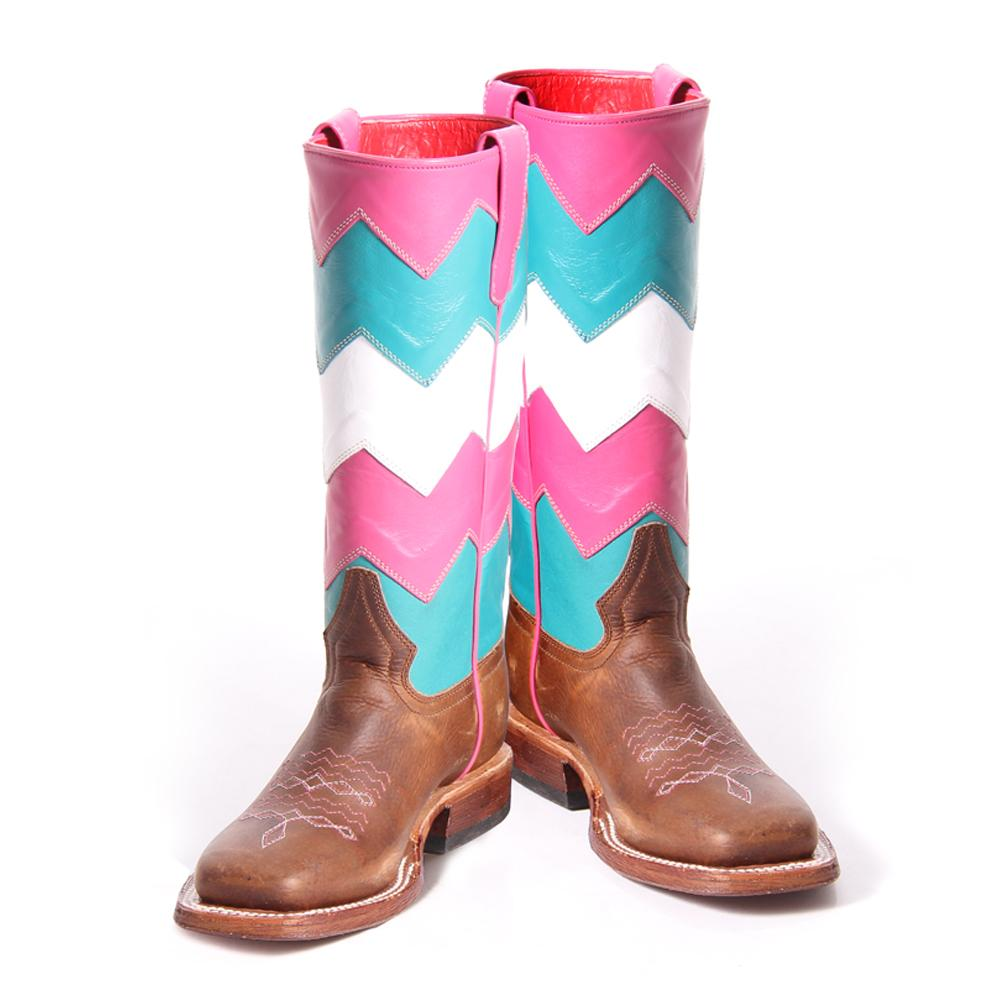 Maci Bean Girls Pink and Turquoise Chevron Boots | D&D