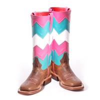 Maci Bean Girls Pink and Turquoise Chevron Boots