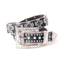 3D Ladies Black Gator W/ Turquoise and Cross Belt