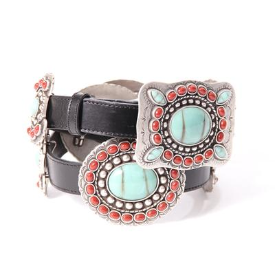 3d Angle Ranch Large Red & Turquoise Concho Belt