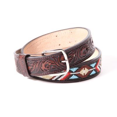 3d Boy's Brown Native Beaded Cowboy Belt