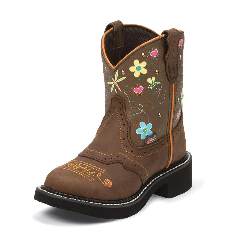 Justin Youth Girl S Aged Bark Tan W Lights Boot