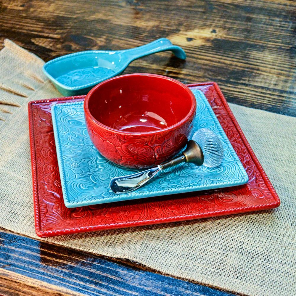 16 Piece Turquoise Savannah Dinnerware Set Item # DI4001-OS-TQ & 16 Piece Turquoise Savannah Dinnerware Set