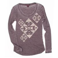 Rock&Roll Cowgirl Ladies Aztec Print Long Sleeve Tee Shirt