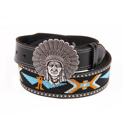 3- D Angel Ranch Ladies Beaded Indian Chief Buckle Belt