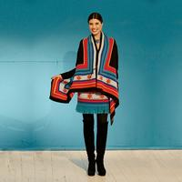 Roja Long Saltillo Stars Poncho Style Sweater Coat