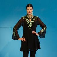 Roja Embroidered Neon Lime Floral Tunic Dress