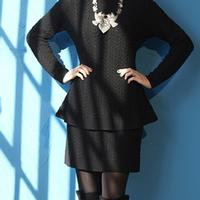 Roja Collection Fisherman Cable Knit Short Skirt in Black