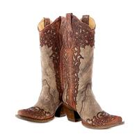 Corral Sand Cognac Lace Overlay Snip Toe Boots