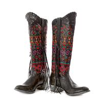 Johnny Ringo Tall Fringe Embroidered Black Boots