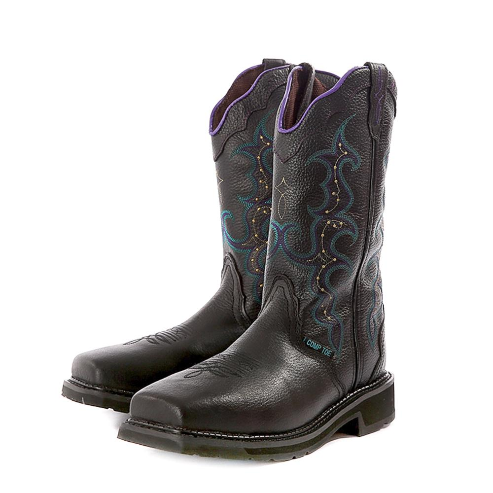 Justin Womens Stampede Black Leather Work Boot