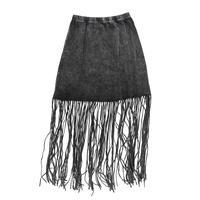 Angie Acid Wash Fringe Hem Skirt