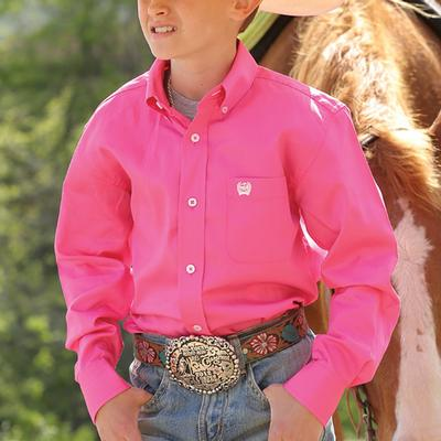 Cinch Pink Solid Twill Long Sleeve Button Down Shirt