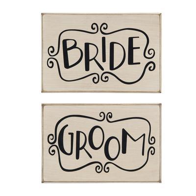 Primitives By Kathy Wooden Plaque- Bride & Groom