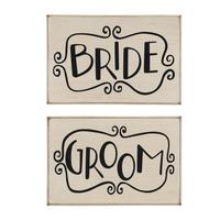 Primitives By Kathy Wooden Plaque- Bride & Groom