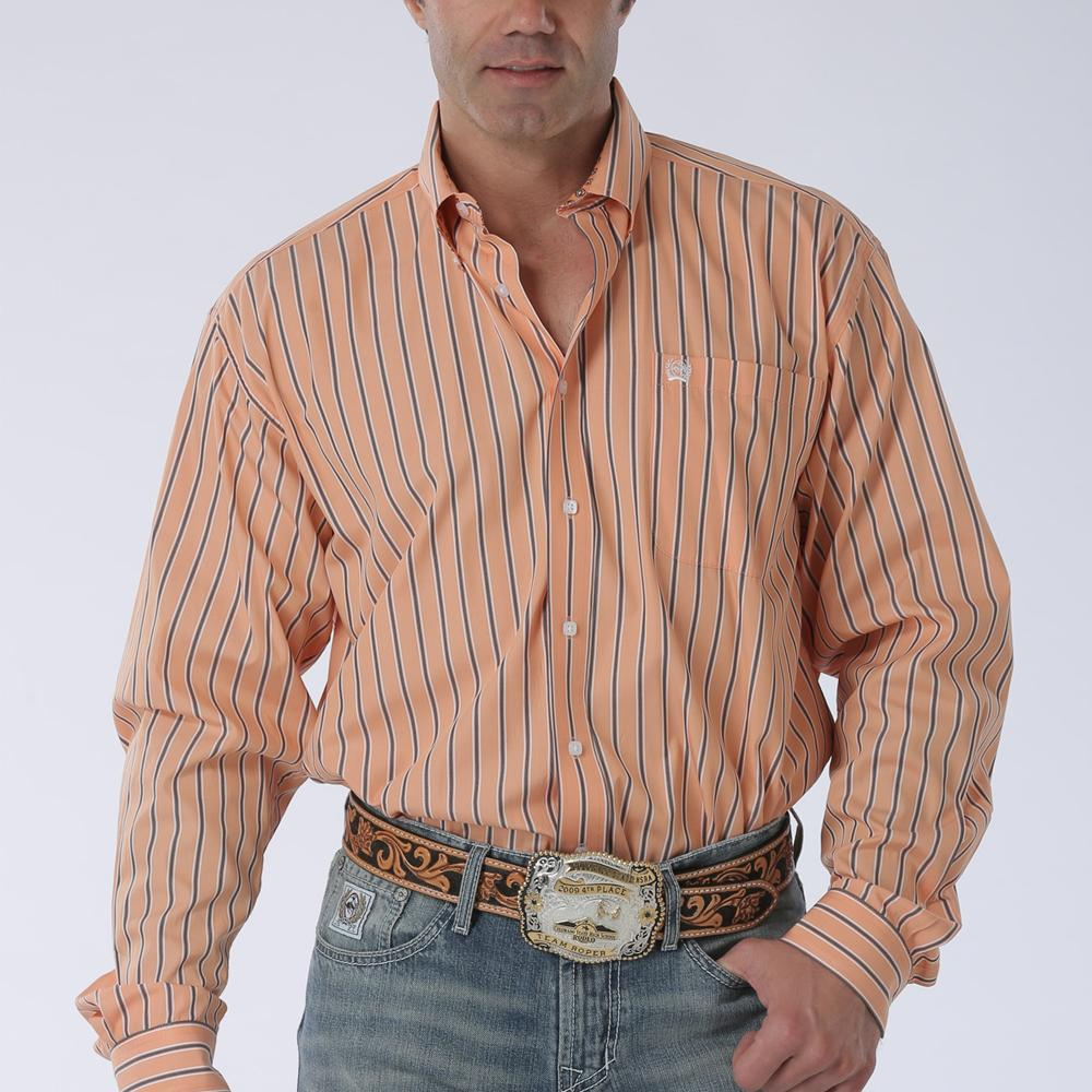 Orange Striped Long Sleeve Shirt Cinch Orange Stripe Long