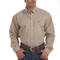 Cinch FR Tan/White Plaid Long Sleeve Button Down Shirt