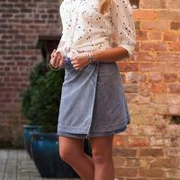 Ryan Michael Reversible Printed Denim Skirt