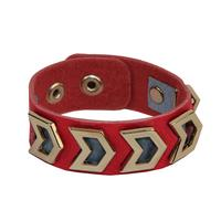 Gypsy Soule Pink & Silver Chevron Leather Bracelet