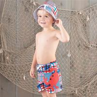 Mud Pie Boy's Madras Crab Swim Trunk