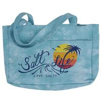 Salt Life On The Horizon Tie-Dye Beach Tote Bag