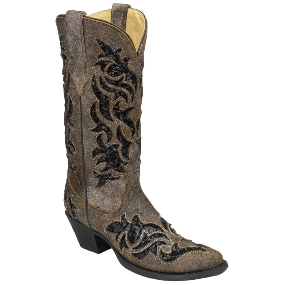 Creative Shop Womenu0026#39;s Corral Turquoise/Brown Laser Stud Boots