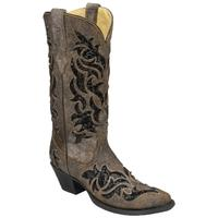 Corral Women's Brown and Black Sequin Inlay Boots